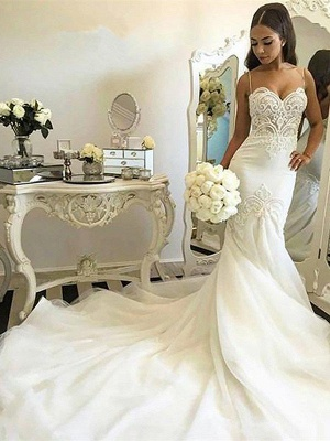 Tulle Cheap   Sexy Mermaid Spaghetti Straps Sleeveless Wedding Dresses UK_3