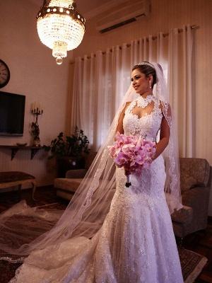 High Neck Lace Sleeveless Court Train  Sexy Mermaid Wedding Dresses UK_3