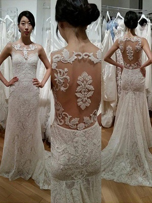 Scoop Neckline Sweep Train  Sexy Mermaid Sleeveless Lace Wedding Dresses UK_1