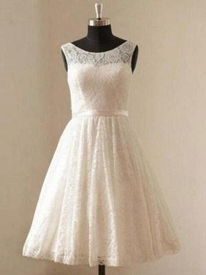 Knee-Length A-Line Sleeveless Scoop Neckline Ribbon Lace Wedding Dresses UK_1