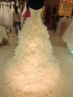 Ruffles Organza Ball Gown Sleeveless Court Train Sweetheart Wedding Dresses UK_3