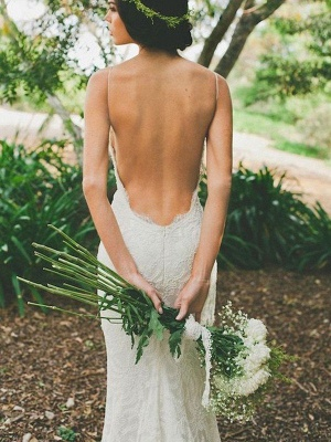 Sexy Mermaid Ruffles Lace Spaghetti Straps Sweep Train Sleeveless Wedding Dresses UK_3