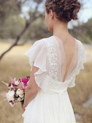 Ruched Floor-Length A-Line V-neck  Short Sleeves Wedding Dresses UK_3