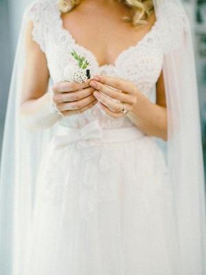 Lace Tulle Cheap A-Line V-neck Sleeveless Floor-Length Wedding Dresses UK_3