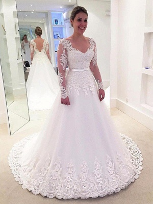 Tulle A-Line Applique Long Sleeves Lace  V-Neck Sweep Train Wedding Dresses UK_1