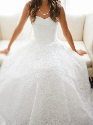 Sleeveless A-Line Cathedral Train Lace Sweetheart Wedding Dresses UK_1