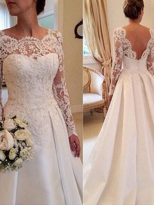 Long Sleeves Scoop Neckline Ball Gown Satin Lace Court Train Wedding Dresses UK_1