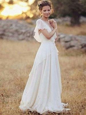 Ruched Floor-Length A-Line V-neck  Short Sleeves Wedding Dresses UK_1
