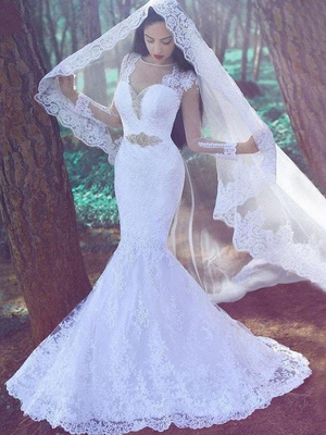 Court Train  Sexy Mermaid Long Sleeves Sweetheart Applique Lace Wedding Dresses UK_1