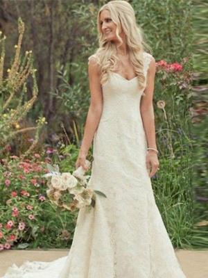 V-Neck Lace Sleeveless Sexy Mermaid Sweep Train Wedding Dresses UK_1