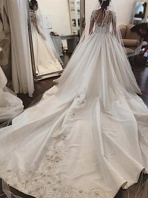 Satin Ball Gown Scoop Neckline Cathedral Train Applique Long Sleeves Wedding Dresses UK_3