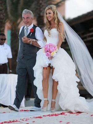 Asymmetrical Organza A-Lines Sleeveless Sweetheart Wedding Dresses UK_4