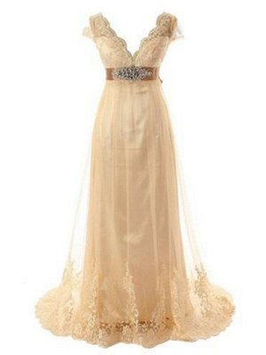 Lace Tulle A-Line  V-Neck Short Sleeves Sweep Train Beads Wedding Dresses UK_1