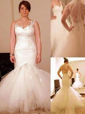 Sleeveless  Sexy Mermaid Straps Floor-Length Organza Wedding Dresses UK_1