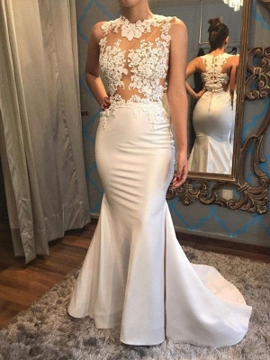 Satin Sexy Mermaid Scoop Neckline Sleeveless Applique Court Train Wedding Dresses UK_3