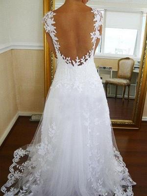 A-Line Sleeveless  V-Neck Sweep Train Lace Tulle Wedding Dresses UK_3