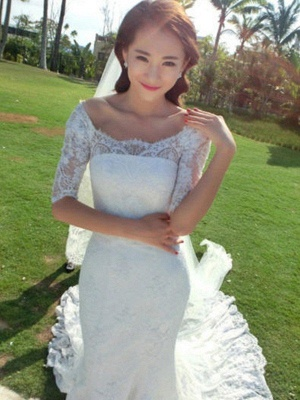 Applique Sexy Mermaid Square Cathedral Train Lace 1/2 Sleeves Wedding Dresses UK_4