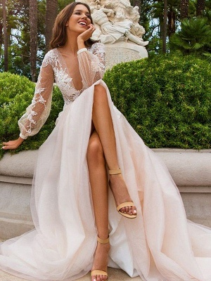 Sweep Train A-Line Applique Long Sleeves  V-Neck Tulle Wedding Dresses UK_1