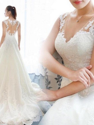 Court Train A-Line Lace  V-Neck Applique Sleeveless Wedding Dresses UK_3