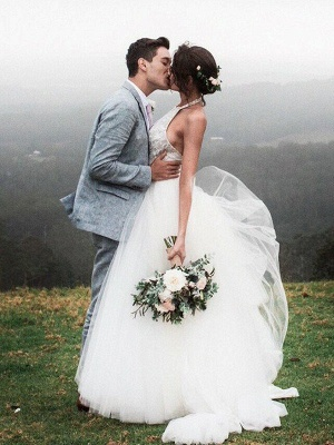A-Line Lace Sleeveless Tulle Cheap Floor-Length Halter Wedding Dresses UK_5