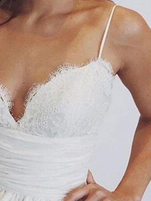 Sweep Train Ball Gown Sleeveless Ruched Satin Spaghetti Straps Wedding Dresses UK_3