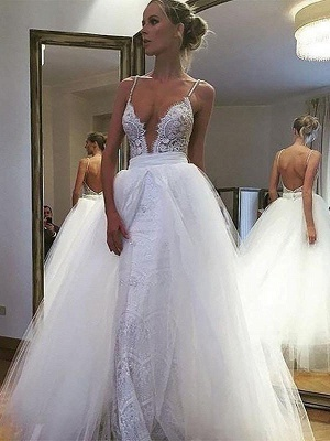 A-Line Sleeveless Tulle Cheap Lace Floor-Length Spaghetti Straps Wedding Dresses UK_1