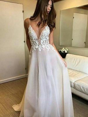 Sweep Train Spaghetti Straps A-Line  V-Neck Lace Tulle Sleeveless Wedding Dresses UK_3