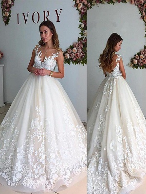 Court Train Sleeveless A-Line Tulle  V-Neck Wedding Dresses UK_1