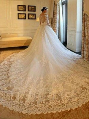 Tulle Ball Gown 3/4 Sleeves Beads Applique Cathedral Train Off-the-Shoulder Wedding Dresses UK_1