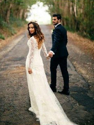 V-neck Sheath Court Train Applique Lace Long Sleeves Wedding Dresses UK_1