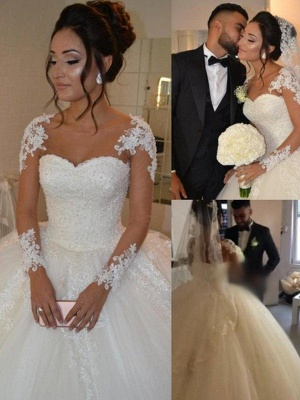 Court Train Long Sleeves Tulle Cheap Scoop Neckline Applique Ball Gown Wedding Dresses UK_3