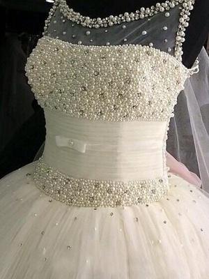 Floor-Length Tulle Cheap Ball Gown Beads Scoop Neckline Sleeveless Wedding Dresses UK_3