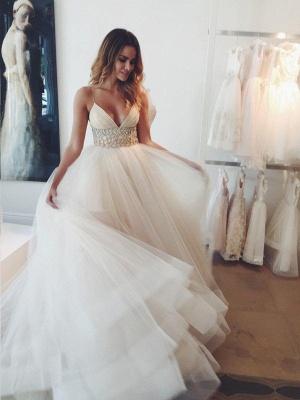 Ball Gown Crystal Spaghetti Straps Sleeveless Court Train Tulle Cheap Wedding Dresses UK_1