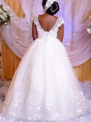 Ball Gown Applique Floor-Length Tulle Sleeveless Scoop Neckline Floor-Length Wedding Dresses UK_3