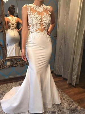 Satin Sexy Mermaid Scoop Neckline Sleeveless Applique Court Train Wedding Dresses UK_1