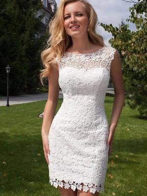 Sheath Scoop Neckline Floor-Length Lace Tulle Cheap Sleeveless Wedding Dresses UK_4
