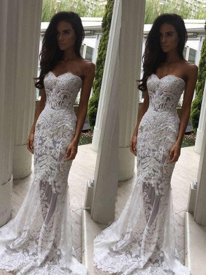 Sweetheart  Sexy Mermaid Sleeveless Lace Court Train Applique Wedding Dresses UK_1