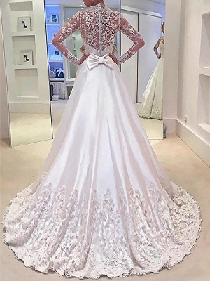 V-Neck Satin A-Line Sweep Train Long Sleeves Wedding Dresses UK_3