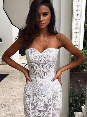 Sweetheart  Sexy Mermaid Sleeveless Lace Court Train Applique Wedding Dresses UK_3