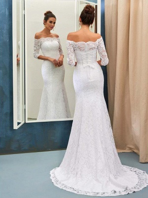 1/2 Sleeves  Sexy Mermaid Lace Sweep Train Off-the-Shoulder Wedding Dresses UK_1