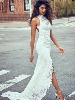 Lace Sexy Mermaid Sweep Train Sleeveless Halter Wedding Dresses UK_1