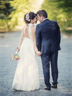 Floor-Length A-Line Sleeveless Halter Ruffles Tulle Wedding Dresses UK_3