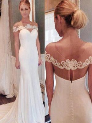 Lace Court Train  Sexy Mermaid Scoop Neckline  Sleeveless Wedding Dresses UK_3