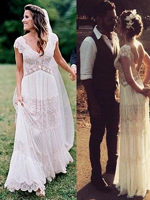 Floor-Length A-Line  V-Neck Lace Short Sleeves Ruched Wedding Dresses UK_1