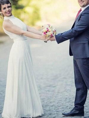 Floor-Length A-Line Sleeveless Halter Ruffles Tulle Wedding Dresses UK_5