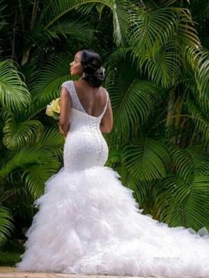 Sexy Mermaid Cathedral Train Organza  V-Neck Sleeveless Wedding Dresses UK_3
