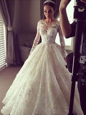 Scoop Neckline Lace Ball Gown Court Train Long Sleeves Wedding Dresses UK_3