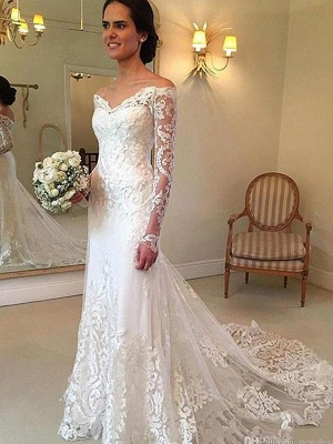 Court Train Applique Lace Sexy Mermaid Long Sleeves Off-the-Shoulder Wedding Dresses UK_3