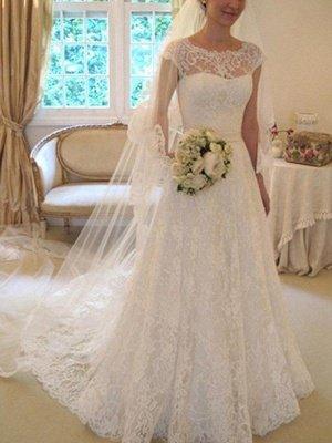 Court Train Applique A-Line Short Sleeves Square Lace Ribbon Wedding Dresses UK_1