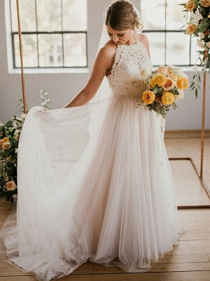 A-Line Lace Sleeveless Tulle Cheap Floor-Length Halter Wedding Dresses UK_6